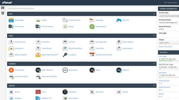 Hosting with cPanel for File and Email management and lot of features