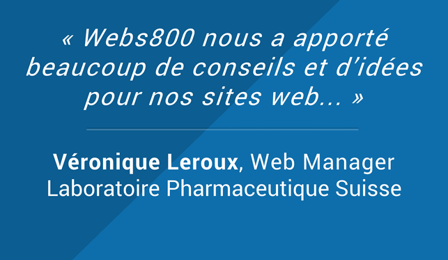 Testimonials Veronique Leroux Web Manager Laboratoire Pharmaceutique Suisse